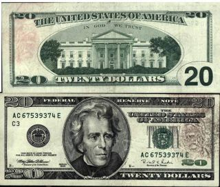 Mike writes here is a scan of a twenty dollar bill i found 1996 and