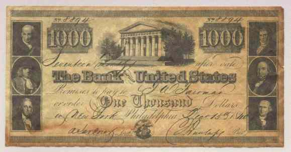 Infamous 8894 Bank Of The United States 1000 Bill Coinsite