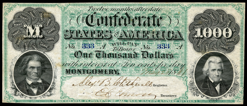 1861 Confederate $1000 bill? - CoinSite