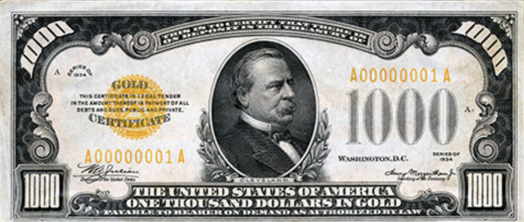 1934 Thousand Dollar Bill featuring a portrait of Grover Cleveland