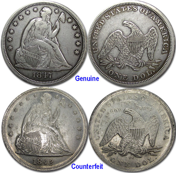 Counterfeit Seated Liberty Dollar - CoinSite